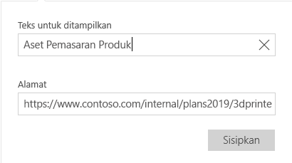 Email untuk Windows 10 dialog teks hyperlink