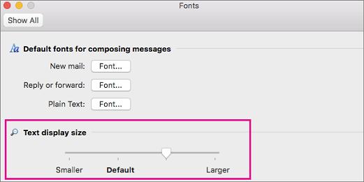 Pindahkan penggeser ke kiri atau ke kanan untuk mengubah ukuran tampilan teks