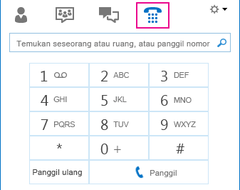 Cuplikan layar ikon Telepon memperlihatkan tombol angka yang bisa digunakan untuk melakukan panggilan