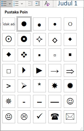 Cuplikan layar pemilihan item daftar poin di menu Beranda.