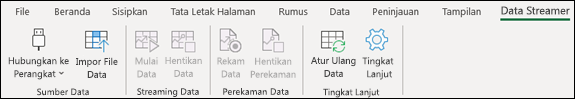 Add-in Data Streamer di menu pita Excel