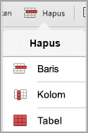 Menu hapus tabel iPad