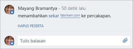 Pengguna eksternal ditambahkan ke pesan