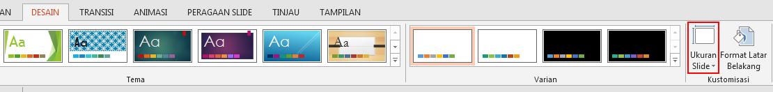Pada tab Desain, di grup Kustomisasi, klik Ukuran Slide.