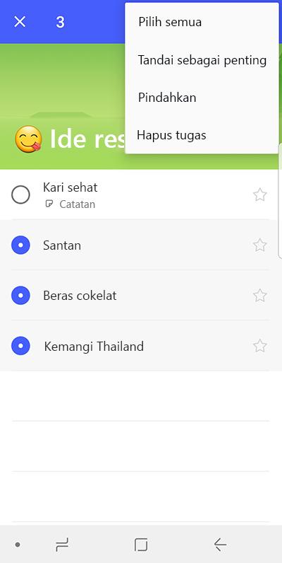 Cuplikan layar memperlihatkan opsi untuk memindahkan hal yang harus dilakukan di Android