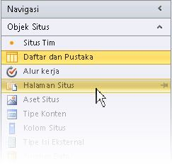 Buka situs dalam SharePoint Designer 2010