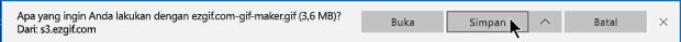 Anda dapat menentukan tempat tujuan file GIF akan disalin di komputer
