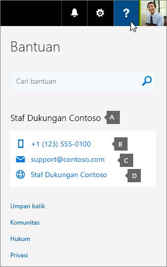 Contoh info kontak dukungan kustom sebuah organisasi.