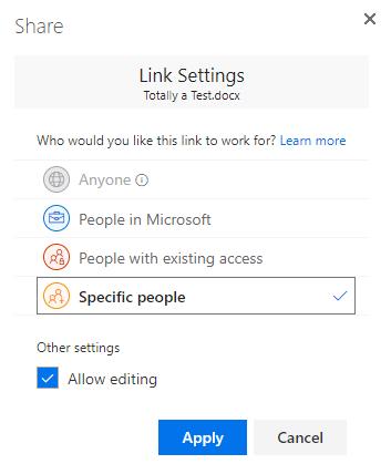 Gunakan link dialog Pengaturan untuk menentukan izin untuk link berbagi