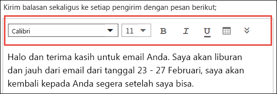 Pesan balasan otomatis Outlook di web