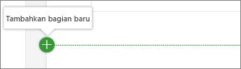 Arahkan mouse di bawah komponen web untuk melihat bagian pada tombol Tambahkan baru
