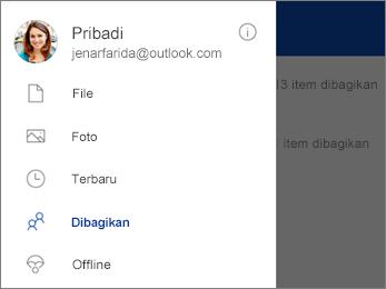 Tampilan yang dibagikan di OneDrive