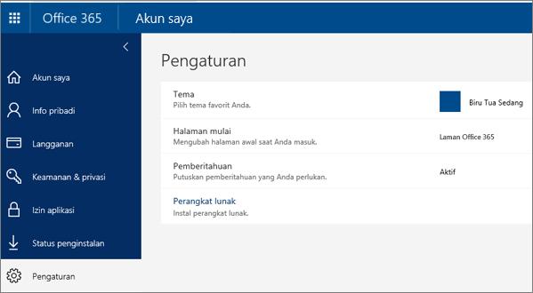 Halaman pengaturan Office 365