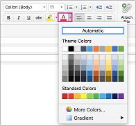 Pemilih warna font di Outlook untuk Mac