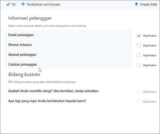 Cuplikan layar: memperlihatkan daftar master pertanyaan kustom.