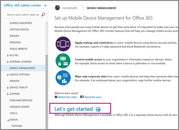 Menyetel Manajemen Perangkat Seluler untuk Office 365