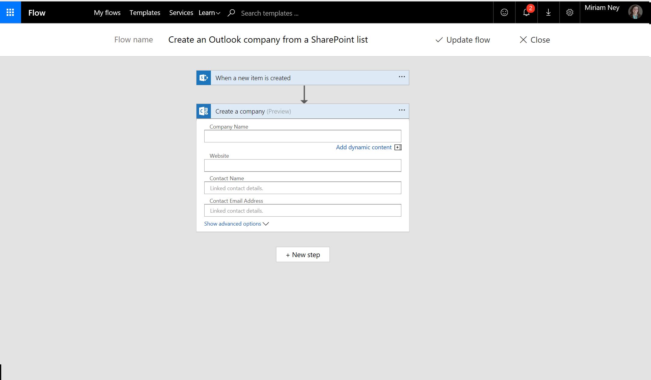 Cuplikan layar cara membuat perusahaan menggunakan aliran
