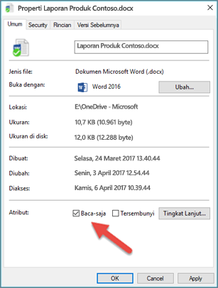 Kosongkan kotak centang Baca-Saja untuk mengedit dan menyimpan file Anda.