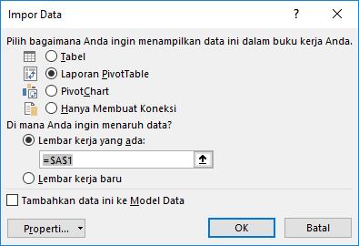 Panduan koneksi data > mengimpor data