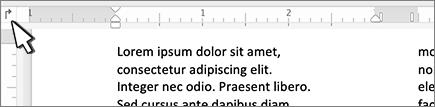 Tombol tab kiri Mac pada penggaris
