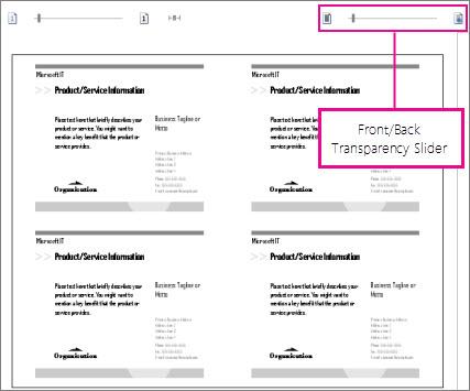 Slider pratinjau cetak untuk bisa melihat bagian depan dan belakang publikasi agar Anda bisa melihat apakah publikasi dibariskan dengan benar.