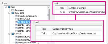 Laporan detail untuk koneksi data