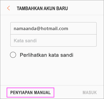 Pilih Penyiapan Manual