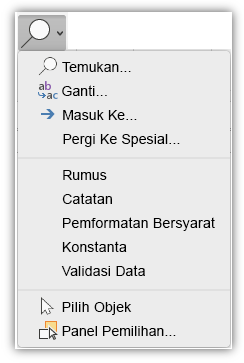 Cuplikan layar menampilkan menu Temukan & Pilih yang telah ditambahkan ke tab Beranda di pita.