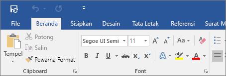 Memperlihatkan pita berwarna di Word 2016