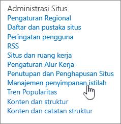 Jangka link Manajemen Penyimpanan di bawah pengaturan situs