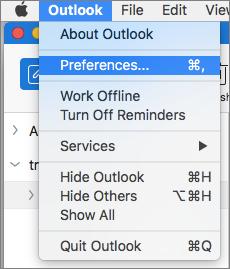 Menu Outlook dengan Preferensi disorot