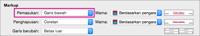 Dalam kotak Lacak Perubahan, Penyisipan tipe Markup disorot.