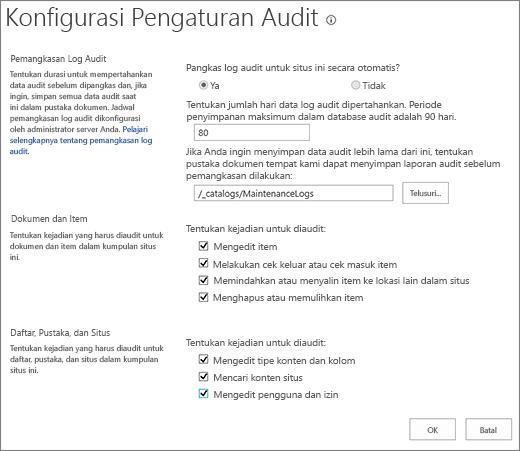 Layar pengaturan audit kumpulan situs