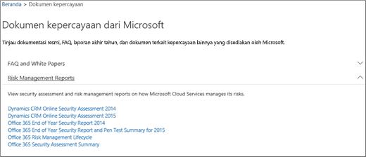 Menampilkan halaman Jaminan layanan: Percayai dokumen yang disediakan oleh Microsoft