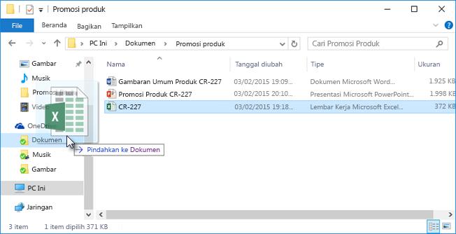 Menyeret file ke OneDrive