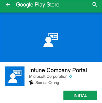 Cuplikan layar yang memperlihatkan tombol instal untuk Portal Perusahaan Intune di Google Play Store