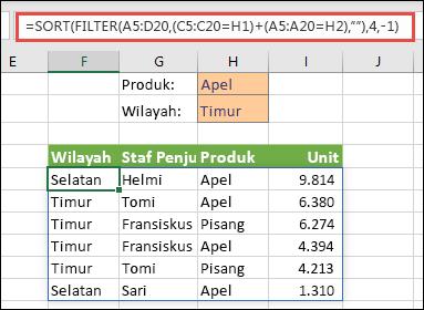 FILTER dan SORT sekaligus - Filter menurut Produk (Apel) ATAU menurut Kawasan (Timur)