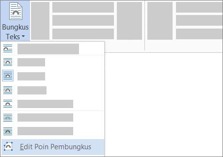 Opsi Edit Poin Pembungkus untuk Bungkus Teks di pita