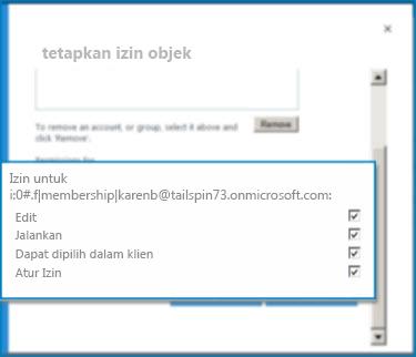 Cuplikan layar kotak dialog SetObject izin di SharePoint Online. Gunakan dialog ini untuk mengatur izin untuk tipe konten eksternal yang ditentukan.