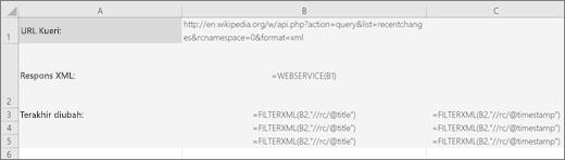 Contoh fungsi FILTERXML