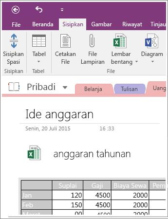 Cuplikan layar lembar bentang yang disematkan di OneNote 2016.