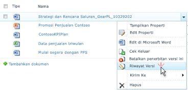 Daftar turun bawah untuk file SharePoint. Riwayat Versi dipilih.