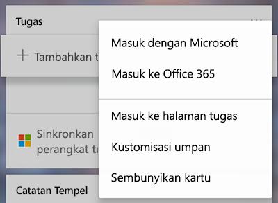 Cuplikan layar memperlihatkan opsi untuk masuk dengan Microsoft atau Office 365 di menu selengkapnya kartu tugas lainnya