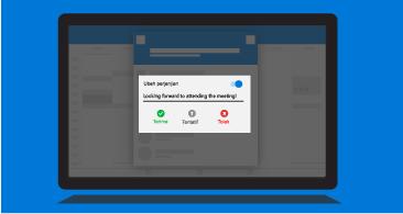 Layar tablet dengan perintah Beri tahu penyelenggara yang memperlihatkan opsi respons yang tersedia dan kemampuan untuk menyertakan komentar