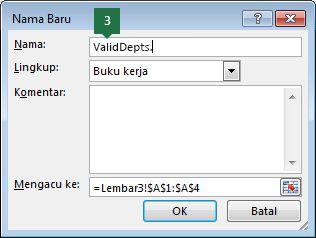 Ketik nama untuk entri daftar turun bawah Anda di Excel