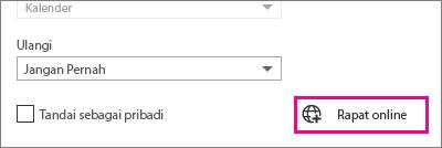 Outlook Web App, tombol Rapat Online