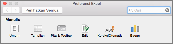 Preferensi Toolbar Pita Office2016 untuk Mac