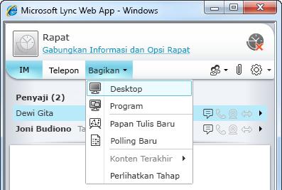 Menu Berbagi Lync Web App