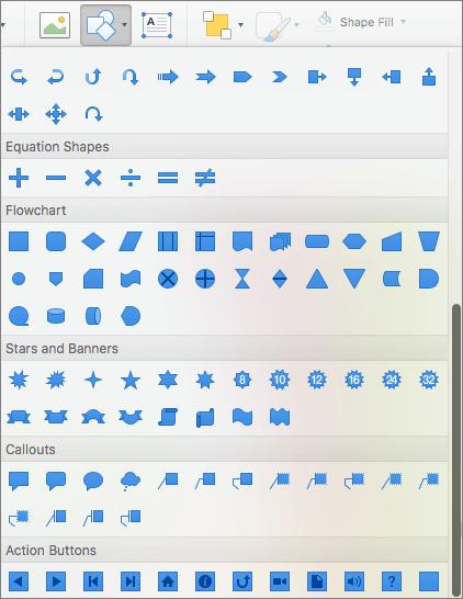 Cuplikan layar memperlihatkan beberapa pilihan yang tersedia di menu bentuk, termasuk tombol tindakan.