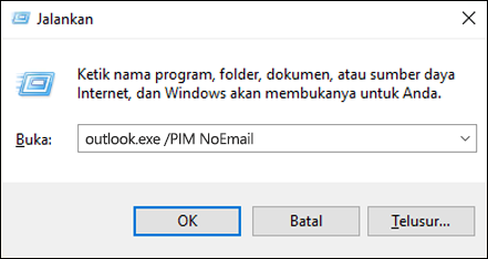 Use the Run dialog to create a profile without email